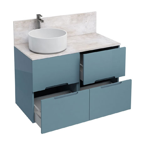 Aqua Cabinets - D1000 Floor Standing Double Drawer Unit with Ceramic Round Basin - Ocean