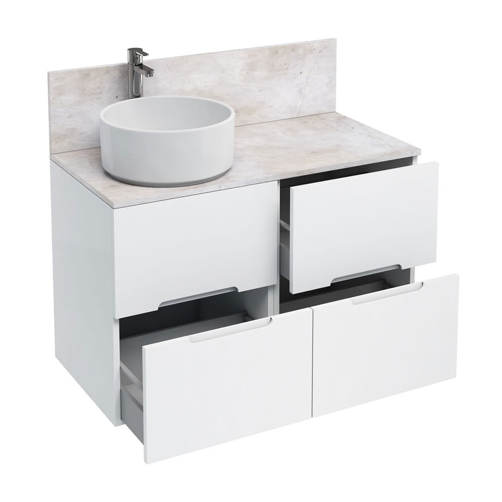 Aqua Cabinets - D1000 Floor Standing Double Drawer Unit with Ceramic Round Basin - White Large Image