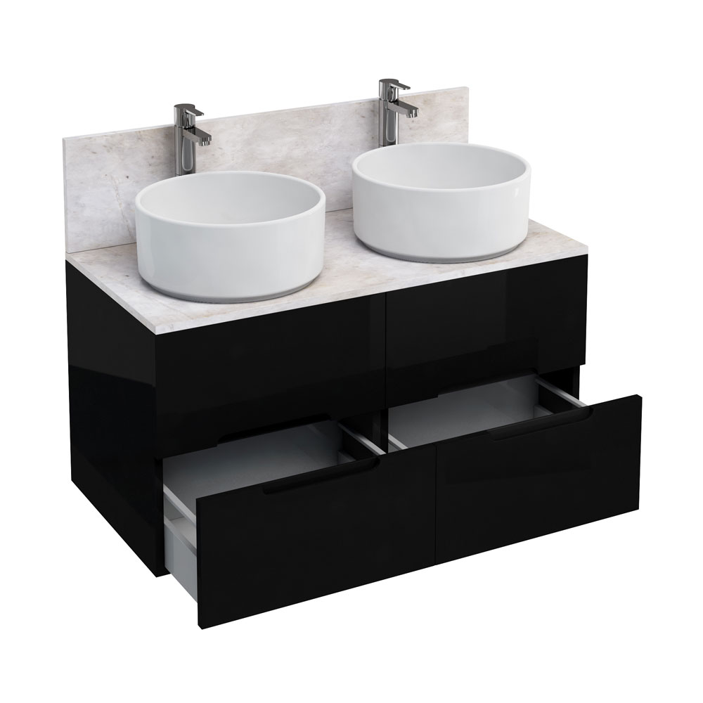 Aqua Cabinets - D1000 Wall Hung Double Drawer Unit with Two Ceramic Round Basins - Black Large Image