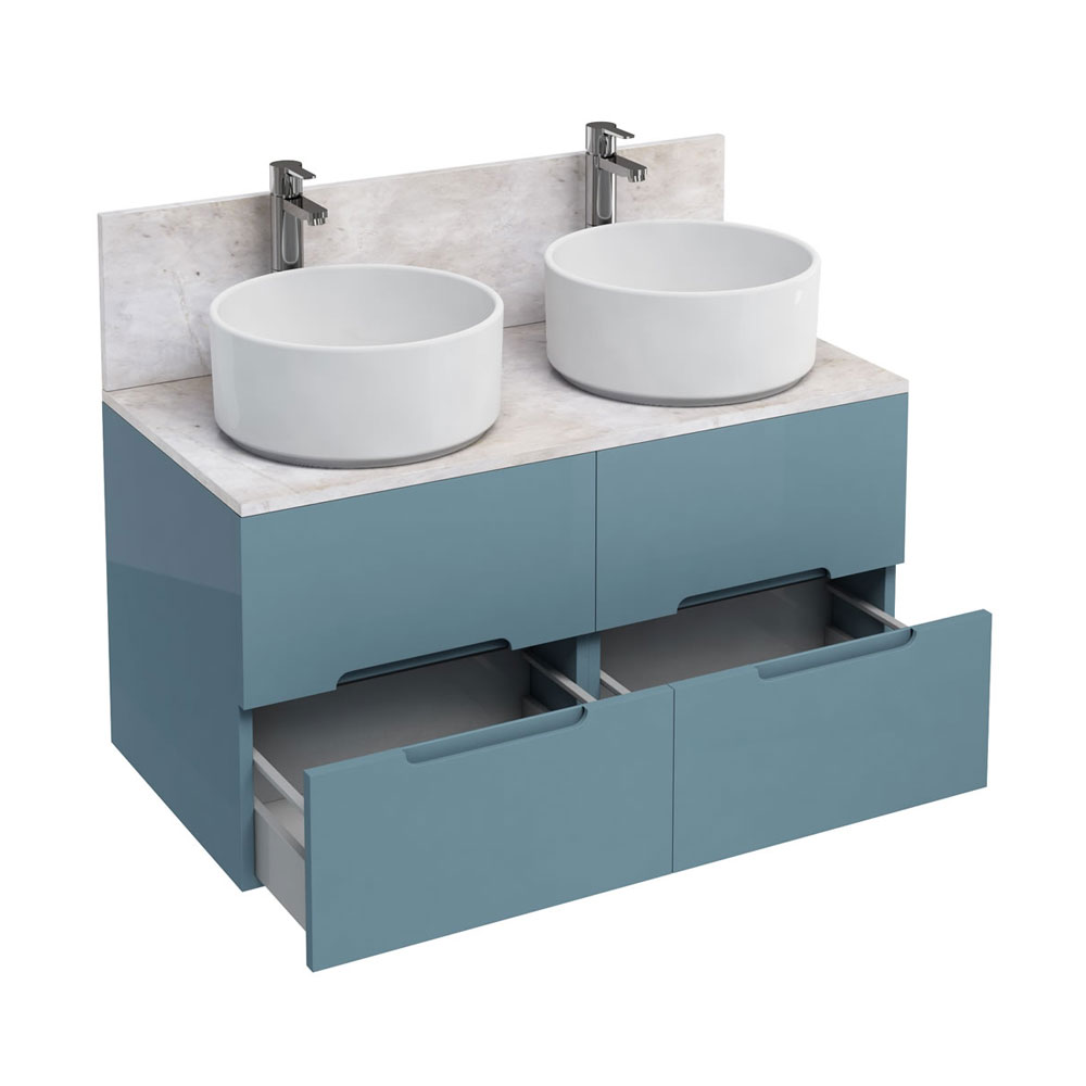 Aqua Cabinets - D1000 Wall Hung Double Drawer Unit with Two Ceramic Round Basins - Ocean Large Image