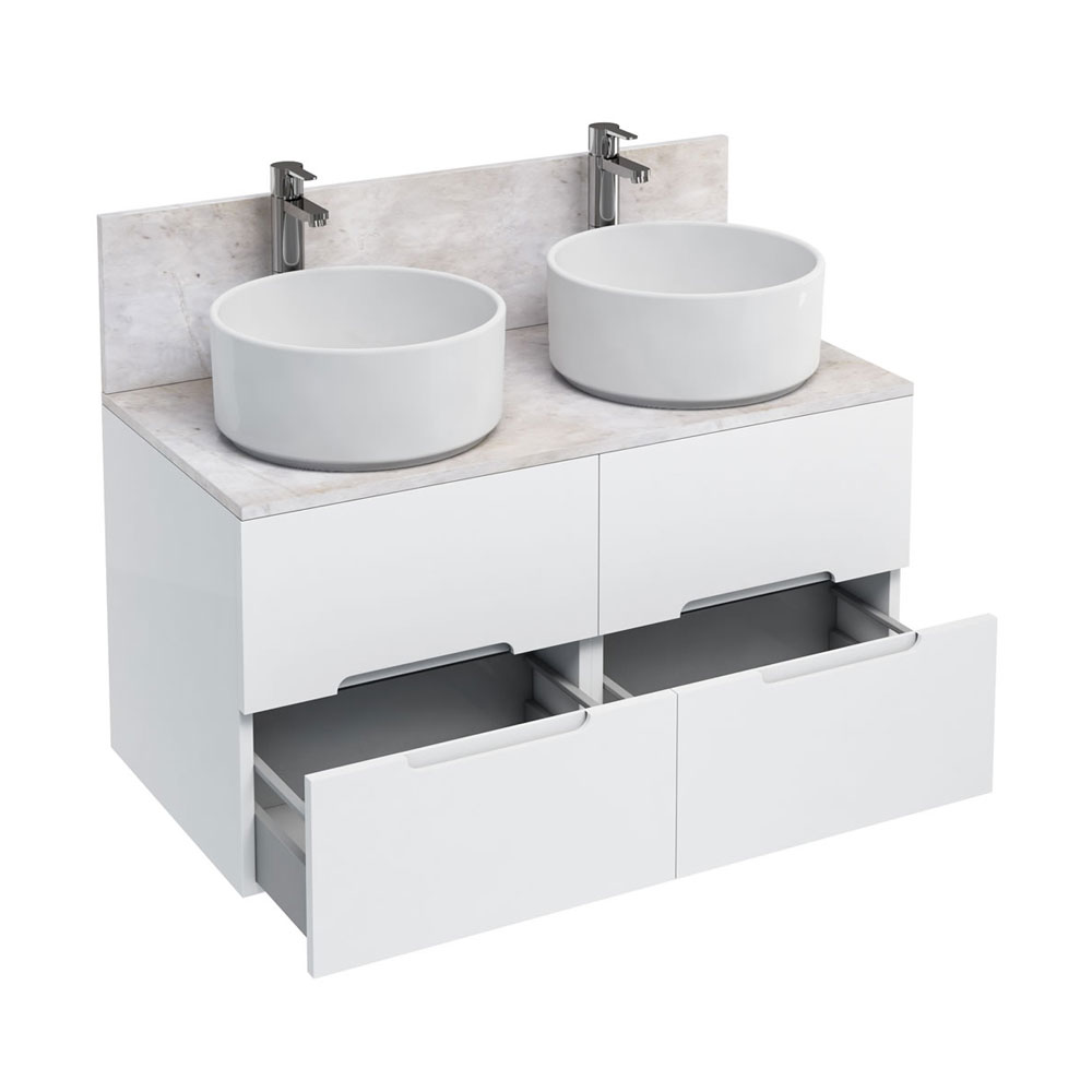 Aqua Cabinets - D1000 Wall Hung Double Drawer Unit with Two Ceramic Round Basins - White Large Image