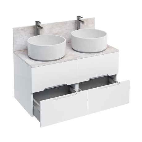Aqua Cabinets - D1000 Wall Hung Double Drawer Unit with Two Ceramic Round Basins - White