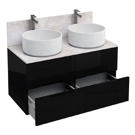 Aqua Cabinets - D1000 Floor Standing Double Drawer Unit with Two Ceramic Round Basins - Black