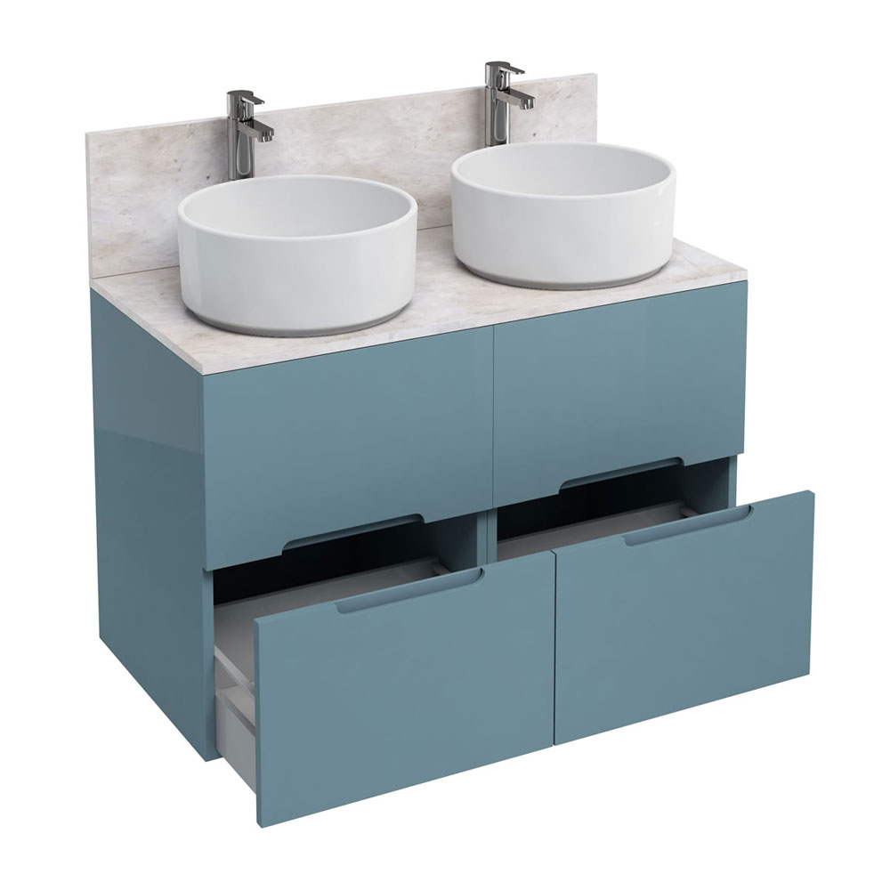 Aqua Cabinets - D1000 Floor Standing Double Drawer Unit with Two Ceramic Round Basins - Ocean Large Image