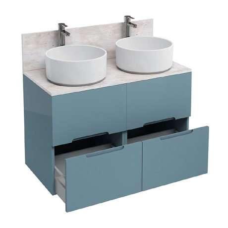 Aqua Cabinets - D1000 Floor Standing Double Drawer Unit with Two Ceramic Round Basins - Ocean