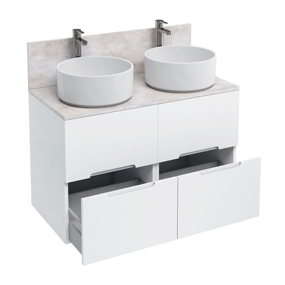 Aqua Cabinets - D1000 Floor Standing Double Drawer Unit with Two Ceramic Round Basins - White Large Image