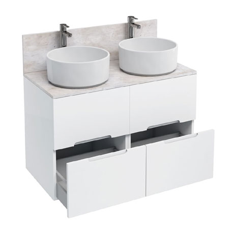 Aqua Cabinets - D1000 Floor Standing Double Drawer Unit with Two Ceramic Round Basins - White