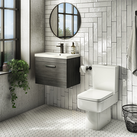 Brooklyn Bathroom Suite - Black with Chrome Handle - 500mm Wall Hung Vanity & Toilet