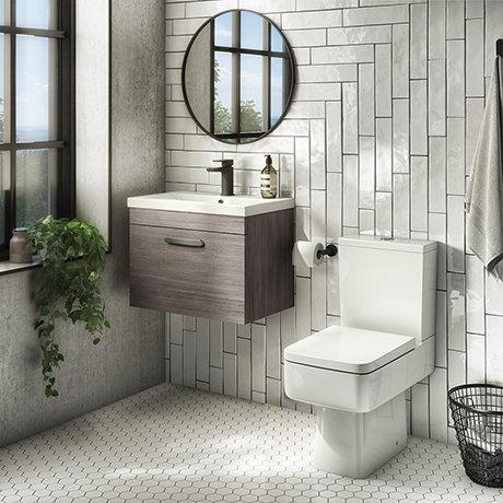 Brooklyn Bathroom Suite - Grey Avola with Chrome Handle - 500mm Wall Hung Vanity & Toilet
