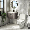 Brooklyn Bathroom Suite - Grey Avola with Chrome Handle - 500mm Wall Hung Vanity & Toilet profile small image view 1