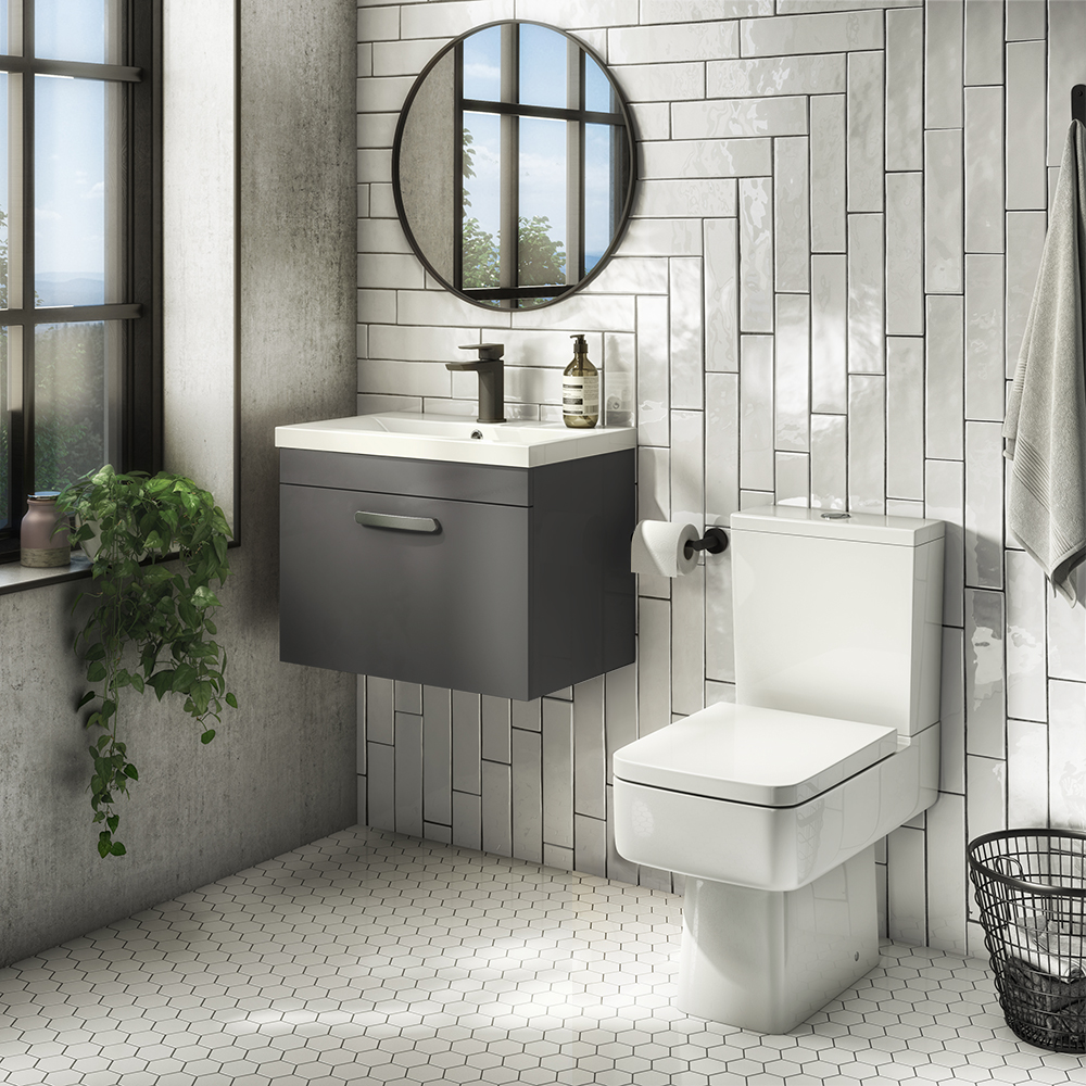 Brooklyn Bathroom Suite - Gloss Grey with Chrome Handle - 500mm Wall Hung Vanity & Toilet