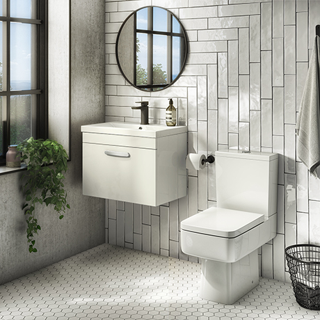 Brooklyn Bathroom Suite - Gloss White with Chrome Handle - 500mm Wall Hung Vanity & Toilet