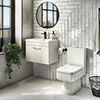 Brooklyn Bathroom Suite - Gloss White with Chrome Handle - 500mm Wall Hung Vanity & Toilet profile small image view 1
