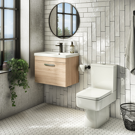 Brooklyn Bathroom Suite - Natural Oak with Chrome Handle - 500mm Wall Hung Vanity & Toilet