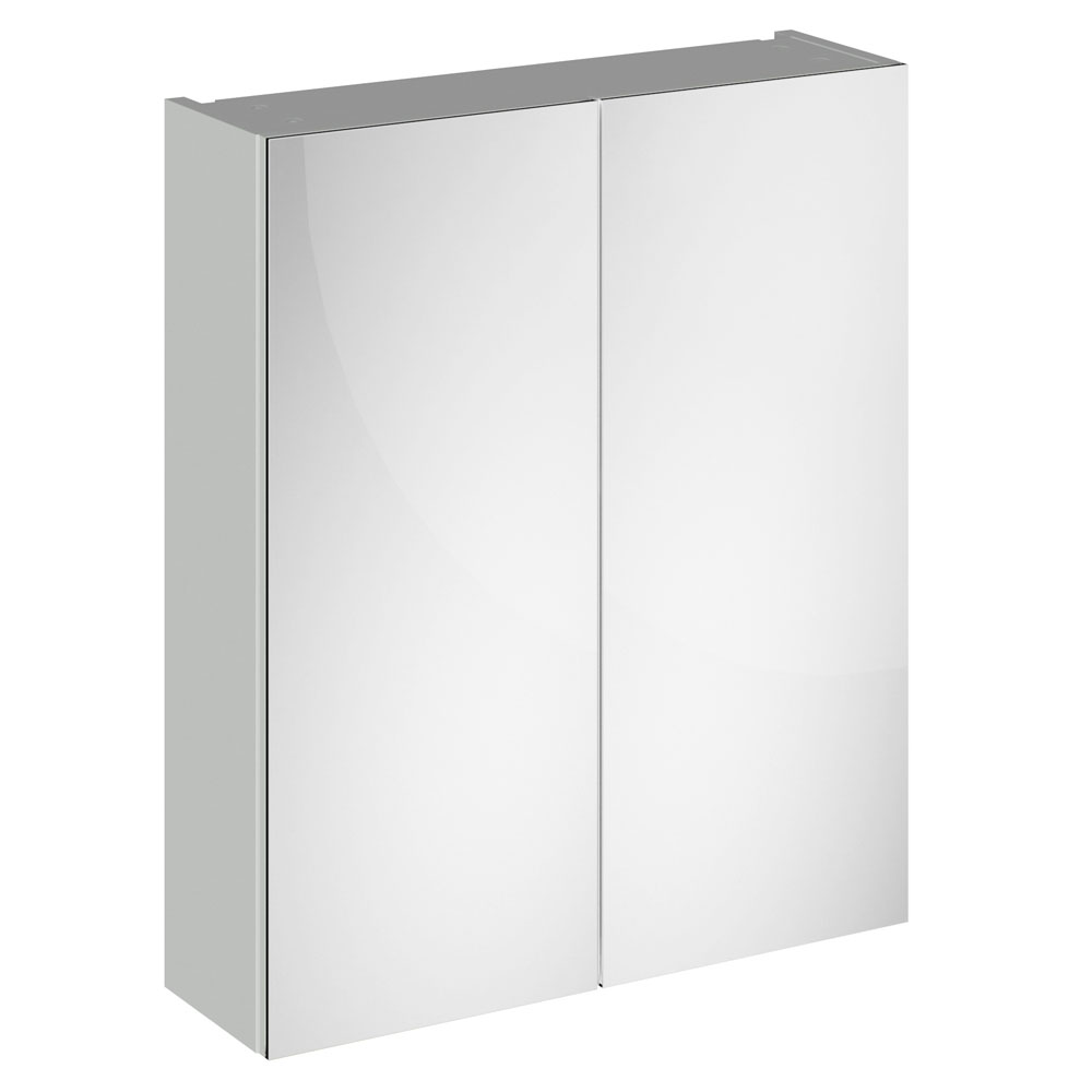 Brooklyn 600mm Grey Mist Bathroom Mirror Cabinet - 2 Door