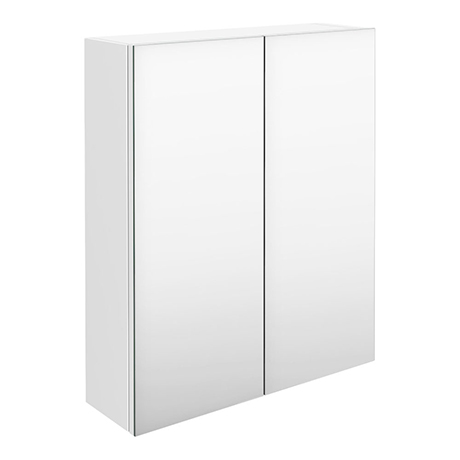 Brooklyn 600mm Gloss White Bathroom Mirror Cabinet - 2 Door
