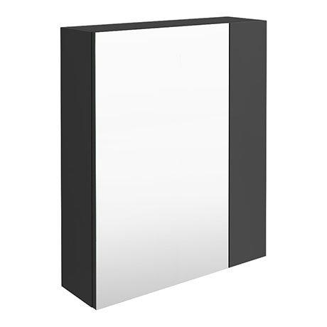 Brooklyn 600mm Gloss Grey Bathroom Mirror & Fascia Cabinet