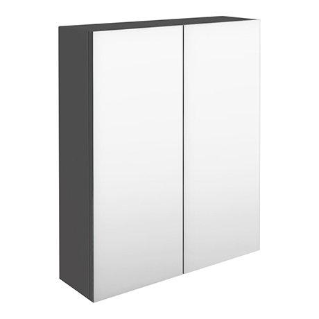 Brooklyn 600mm Gloss Grey Bathroom Mirror Cabinet - 2 Door