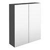 Brooklyn 600mm Gloss Grey Bathroom Mirror Cabinet - 2 Door profile small image view 1