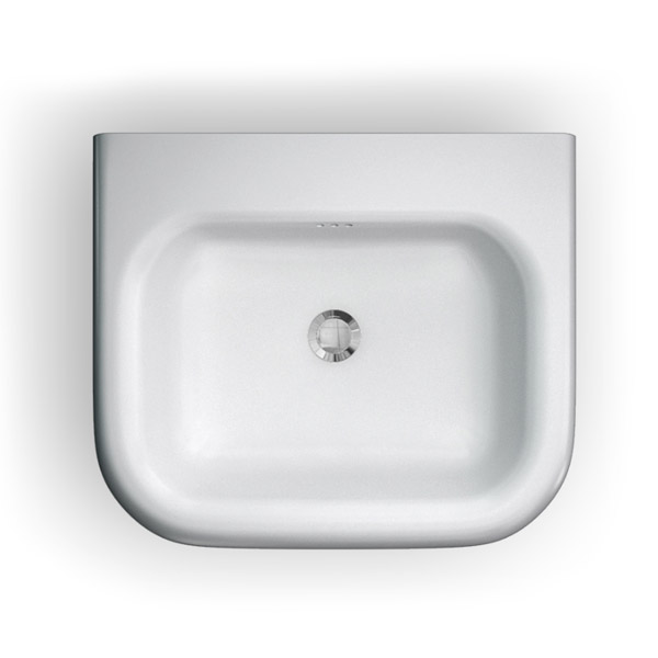 Clearwater - Small Traditional Roll Top Basin with Stainless Steel Stand - W550 x D470mm profile large image view 2