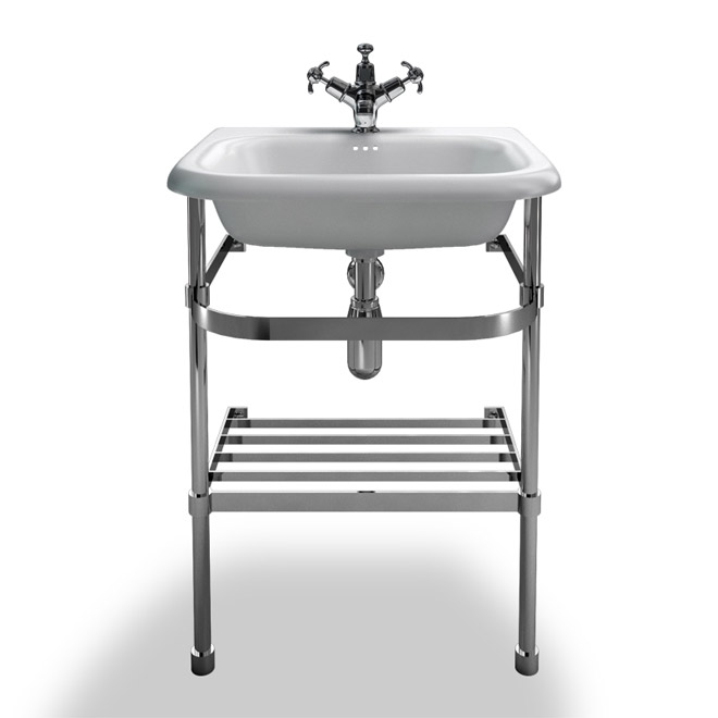 Clearwater - Small Traditional Roll Top Basin with Stainless Steel Stand - W550 x D470mm Large Image