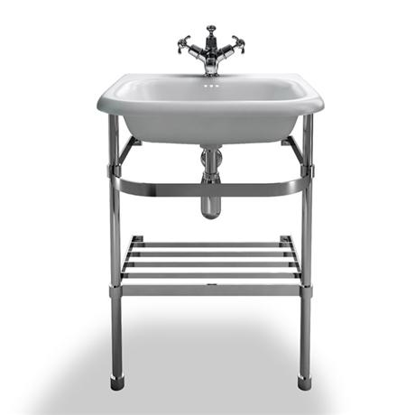 Clearwater - Small Traditional Roll Top Basin with Stainless Steel Stand - W550 x D470mm