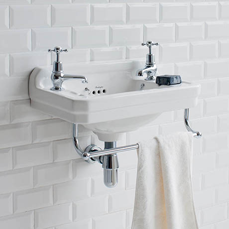 Burlington 51cm Cloakroom Basin with Towel Rail - 2 Tap Hole