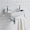 Burlington 51cm Cloakroom Basin with Towel Rail - 2 Tap Hole profile small image view 1