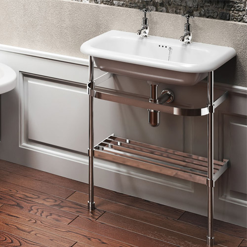 Clearwater - Medium Traditional Roll Top Basin with Stainless Steel Stand - W650 x D470mm Feature Large Image