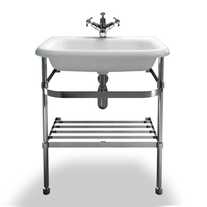 Clearwater - Medium Traditional Roll Top Basin with Stainless Steel Stand - W650 x D470mm Large Image