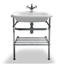 Clearwater - Medium Traditional Roll Top Basin with Stainless Steel Stand - W650 x D470mm Medium Image