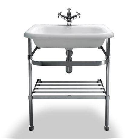 Clearwater - Medium Traditional Roll Top Basin with Stainless Steel Stand - W650 x D470mm