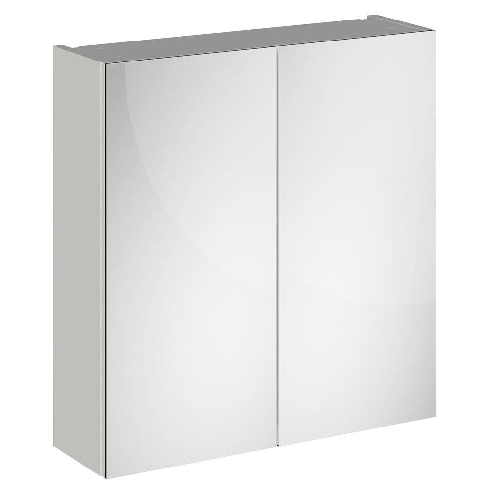 Brooklyn 800mm Grey Mist Bathroom Mirror Cabinet - 2 Door