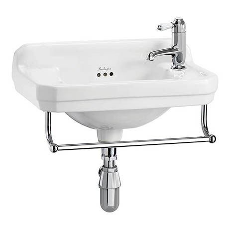 Burlington 51cm Cloakroom Basin with Towel Rail - 1 Tap Hole