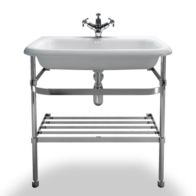 Clearwater - Large Traditional Roll Top Basin with Stainless Steel Stand - W750 x D470mm Large Image