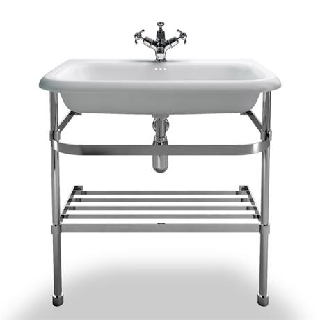 Clearwater - Large Traditional Roll Top Basin with Stainless Steel Stand - W750 x D470mm