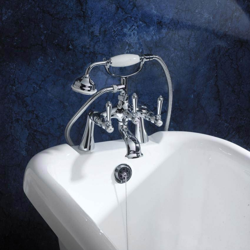 Hudson Reed Jade Crosshead Bath Shower Mixer with Shower Kit - Chrome - BA304 profile large image view 2