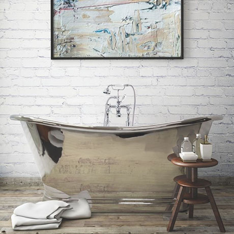 BC Designs 1700mm Nickel Double Ended Freestanding Bath