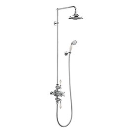 Burlington Medici Avon Thermostatic Two Outlet Exposed Shower Valve, Rigid Riser & Kit with Fixed Head