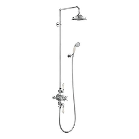 Burlington Medici Avon Thermostatic Two Outlet Exposed Shower Valve, Rigid Riser & Kit with Fixed He