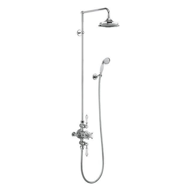 Burlington Avon Thermostatic Two Outlet Exposed Shower Valve, Rigid Riser & Kit with Fixed Head Larg
