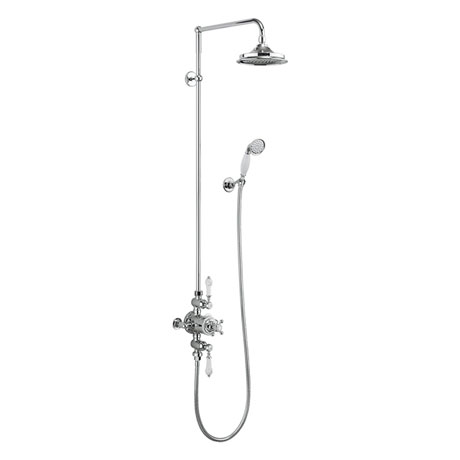 Burlington Avon Thermostatic Two Outlet Exposed Shower Valve, Rigid Riser & Kit with Fixed Head