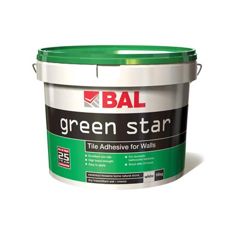 BAL - 10 Ltr (15kg) Wall Green Star Tile Adhesive - White - B100