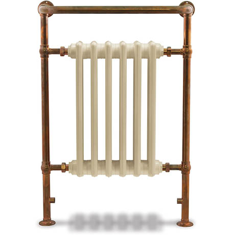 Bampton Traditional 960 x 675mm Heated Towel Radiator - Copper - BAM-COP-01 - Positioned against a stunning wood panelled traditional bathroom wall