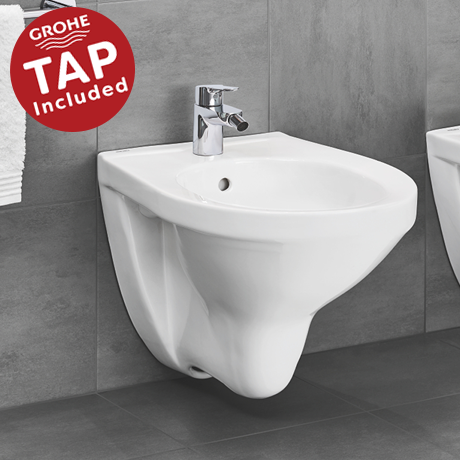Grohe Bau Complete Wall Hung Bidet Package (Tap Included)