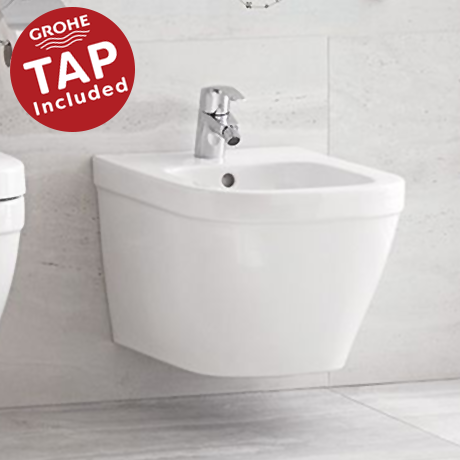 Grohe Euro Wall Hung Bidet Package (Tap + Waste Included)