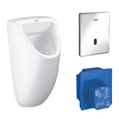 Grohe Bau Ceramic Urinal + Automatic Infra-Red Sensor Flush + Rough-In Box