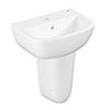 Grohe Bau 450mm 1TH Basin + Half Pedestal profile small image view 1