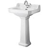 Bayswater Fitzroy Comfort Height Traditional 1TH Basin & Full Pedestal profile small image view 1