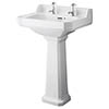 Bayswater Fitzroy Traditional 2TH Basin & Full Pedestal profile small image view 1